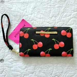 BETSEY JOHNSON Cherry Black Clutch Wallet